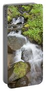 Water Cascading Over Rocks, Mount Hood Portable Battery Charger