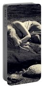 Woman In River Portable Battery Charger by Joana Kruse