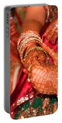 Women With Decorated Hands Holding Hands In A Hindu Religious Ceremony Portable Battery Charger