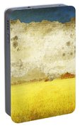 Yellow Field On Old Grunge Paper Portable Battery Charger