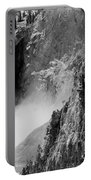 Yellowstone Waterfalls In Black And White Portable Battery Charger