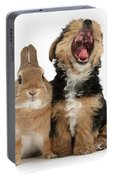 Yorkshire Terrier Pup With Rabbit Portable Battery Charger