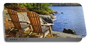 Adirondack Chairs At Lake Shore Portable Battery Charger