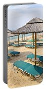 Beach Umbrellas On Sandy Seashore Portable Battery Charger