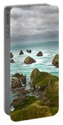 Cliffs Under Thunder Clouds And Turquoise Ocean Portable Battery Charger
