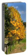 Country Road And Autumn Landscape Portable Battery Charger