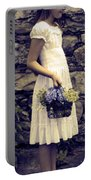 Girl With Flowers Portable Battery Charger by Joana Kruse