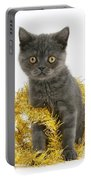 Kitten With Tinsel Portable Battery Charger