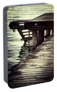 Old Wooden Pier With Stairs Into The Lake Portable Battery Charger