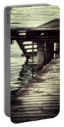 Old Wooden Pier With Stairs Into The Lake Portable Battery Charger by Joana Kruse