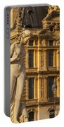 Statue Below Musee Du Louvre Portable Battery Charger