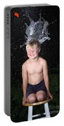 Water Balloon Popped Above Boys Head Portable Battery Charger