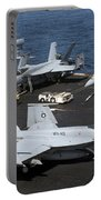An Fa-18e Super Hornet During Flight Portable Battery Charger