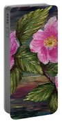 3 Wild Roses Portable Battery Charger