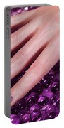 Woman Hand With Purple Nail Polish Portable Battery Charger