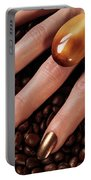 Woman Hands In Coffee Beans Portable Battery Charger