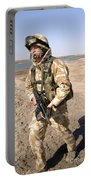 A British Army Soldier On Patrol Portable Battery Charger