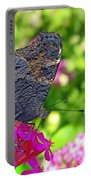 A Butterfly On The Pink Flower Portable Battery Charger