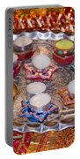 A Decorated Hindu Prayer Thaali With Wax Candles Oil Lamps Portable Battery Charger