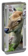 A Deer Enters The House Window. Portable Battery Charger