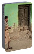 A Girl By A Door Portable Battery Charger