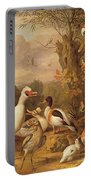 A Macaw - Ducks - Parrots And Other Birds In A Landscape Portable Battery Charger