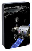 A Manned Maneuvering Vehicle Undocks Portable Battery Charger