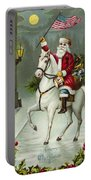 A Merry Christmas Card Of Santa Riding A White Horse Portable Battery Charger