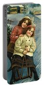 A Merry Christmas Postcard With Sledding Girls Portable Battery Charger