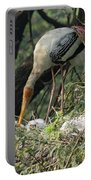 A Painted Stork Feeding Its Young At The Delhi Zoo Portable Battery Charger
