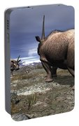 A Pair Of Male Elasmotherium Confront Portable Battery Charger