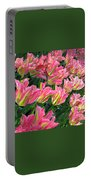 A Sea Of Pink Tulips. Square Format Portable Battery Charger