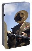 A Senior Drill Instructor Inspects Portable Battery Charger