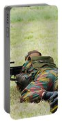 A Soldier Of The Belgian Army On Guard Portable Battery Charger by Luc De Jaeger