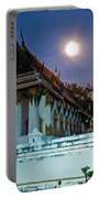 A Tempel In A Wat During A Full Moon Night  Portable Battery Charger