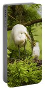 A Tender Moment - Great Egret And Chick Portable Battery Charger