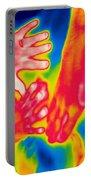 A Thermogram Of A Pile Of Human Hands Portable Battery Charger