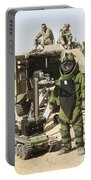 A U.s. Marine Dressed In A Bomb Suit Portable Battery Charger