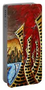 Abstract Art Contemporary Coastal Cityscape 3 Of 3 Capturing The Heart Of The City II By Madart Portable Battery Charger