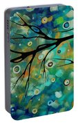 Abstract Art Original Landscape Painting Colorful Circles Morning Blues II By Madart Portable Battery Charger