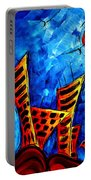 Abstract Cityscape Art Original City Painting The Lost City II By Madart Portable Battery Charger