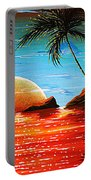 Abstract Surreal Tropical Coastal Art Original Painting Tropical Fusion By Madart Portable Battery Charger