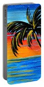 Abstract Tropical Palm Tree Painting Tropical Goodbye By Madart Portable Battery Charger
