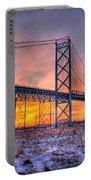Ambassador Bridge Sunrise 1-16-2012  Detroit Mi Portable Battery Charger