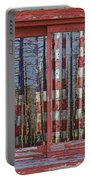 America Still Beautiful Red Picture Window Frame Photo Art View Portable Battery Charger
