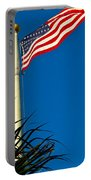 American Flag Flying Over The Palms Portable Battery Charger