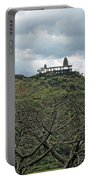 An Old Temple Building On Top Of A Hill With A Lot Of Clouds In The Sky Portable Battery Charger