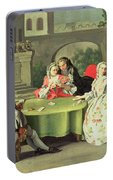 An Ornamental Garden With Elegant Figures Seated Around A Card Table Portable Battery Charger