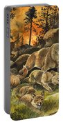 Animals United In Terror As They Flee From A Forest Fire Portable Battery Charger