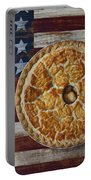 Apple Pie On Folk Art  American Flag Portable Battery Charger
